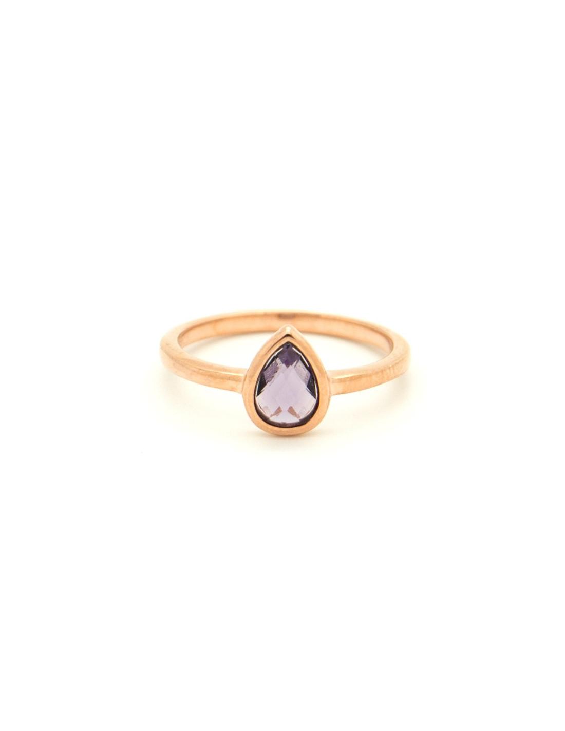 Δαχτυλίδι ασημένιο ροζ επίχρυσο με μωβ ζιργκόν OVAL R20140658 da2d0d37bf2