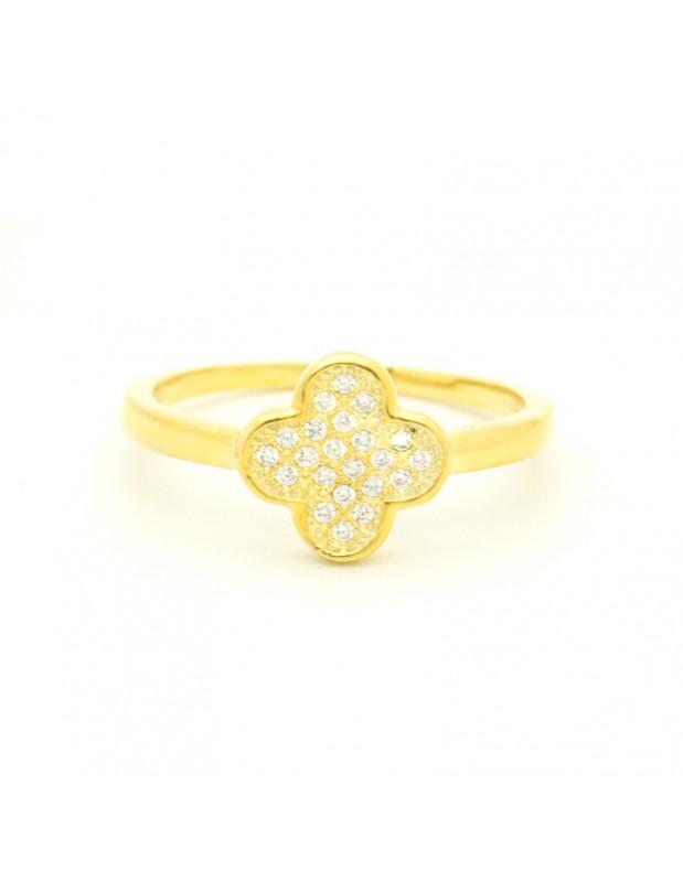 Ασημένιο δαχτυλίδι με ζιργκόν χρυσό KLEE