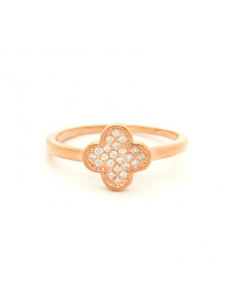 Δαχτυλίδι ασημένιο με λευκά ζιργκόν ροζ χρυσό KLEE