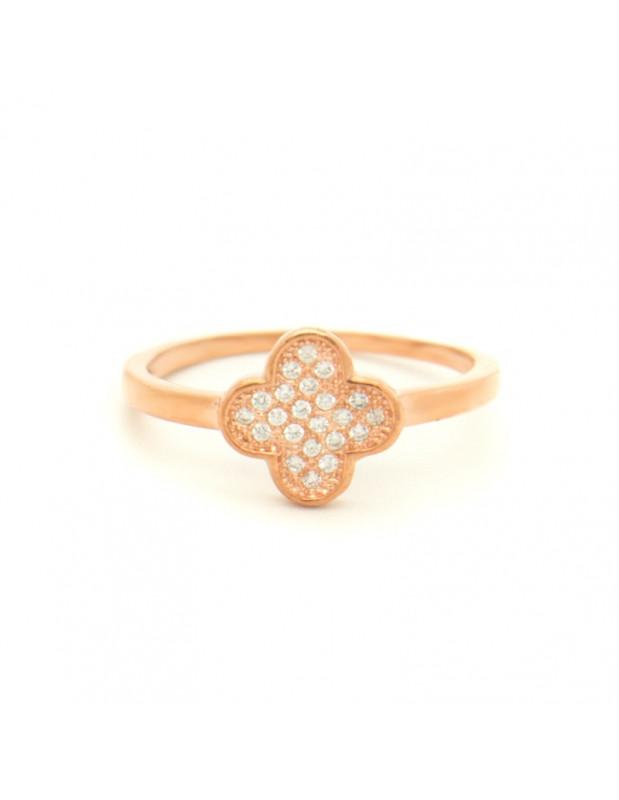 Δαχτυλίδι ασημένιο με ζιργκόν ροζ χρυσό KLEE