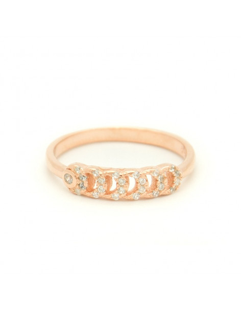 Silverring with crystals rose gold ONTA