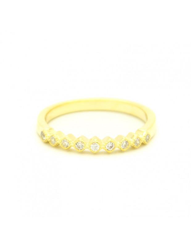 Δαχτυλίδι ασημένιο με λευκά ζιργκόν χρυσό HEIM