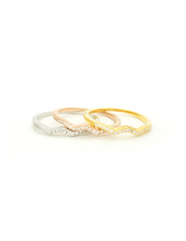 Silverring set rose gold - gold - silver with crystals THREE