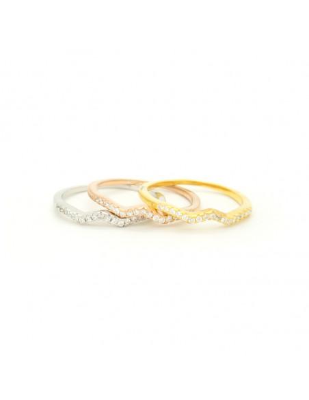 Ασημένιο σετ δαχτυλίδια ροζ - χρυσό - ασημί με ζιργκόν THREE