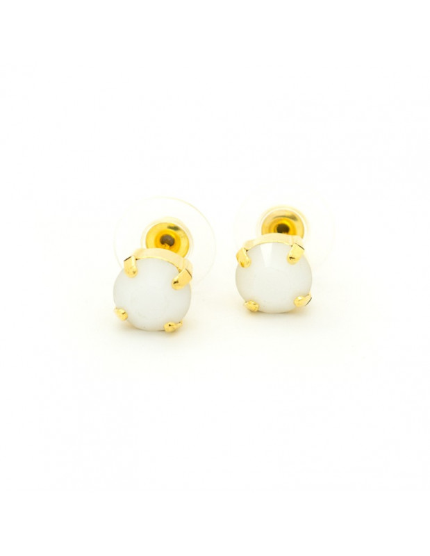 Stud Earrings with white crystal gold IBI