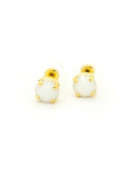 Σκουλαρίκια καρφωτά με λευκό ζιργκόν χρυσό IBI