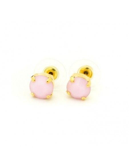 Σκουλαρίκια καρφωτά με ροζ ζιργκόν χρυσό IBI