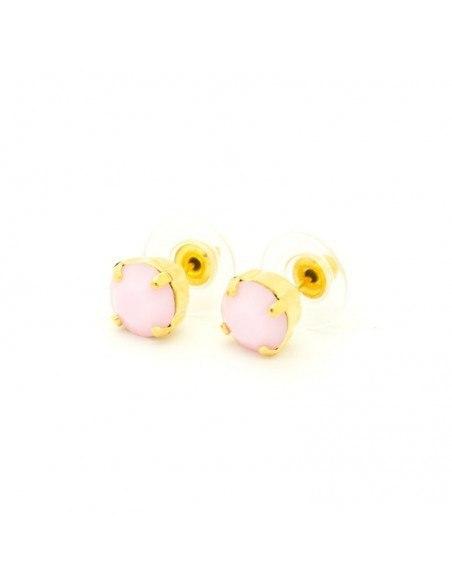 Σκουλαρίκια καρφωτά με ροζ ζιργκόν χρυσό IBI 2