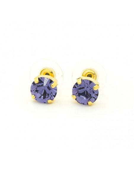Σκουλαρίκια καρφωτά με μώβ ζιργκόν χρυσό IBI