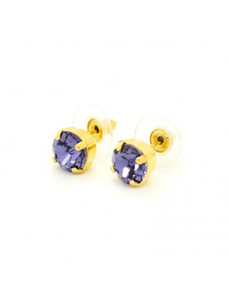 Σκουλαρίκια καρφωτά με μώβ ζιργκόν χρυσό IBI 2