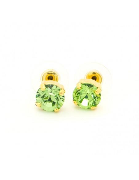 Σκουλαρίκια καρφωτά με πράσινο ζιργκόν χρυσό IBI