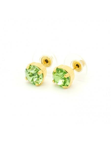 Σκουλαρίκια καρφωτά με πράσινο ζιργκόν χρυσό IBI 2