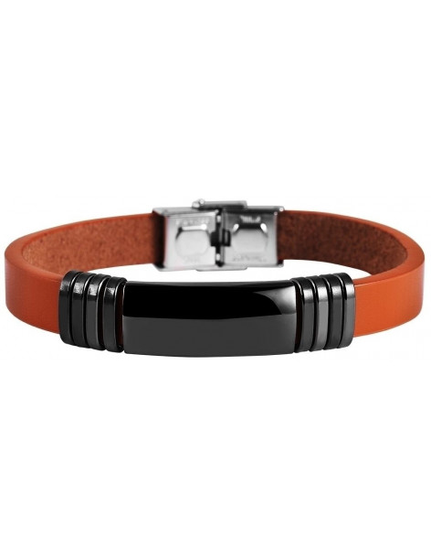 Men's genuine leather bracelet with stainless steel elements ISFET A20140703