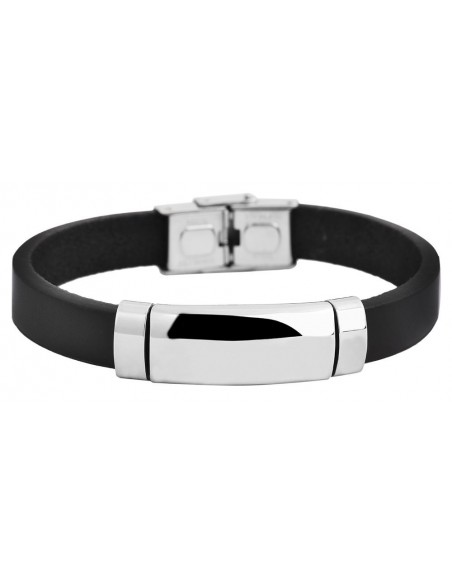Men's genuine leather bracelet with stainless steel elements LAZE A20140694