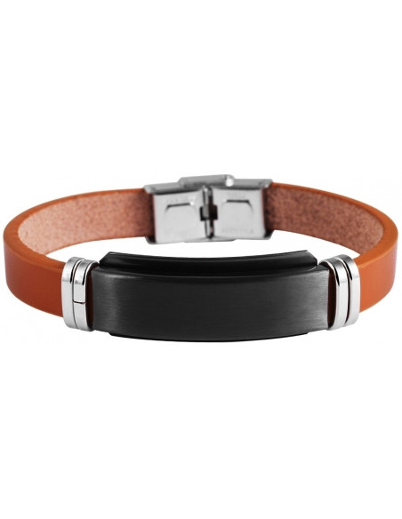 Men's genuine leather bracelet with stainless steel elements HORUS A20140689