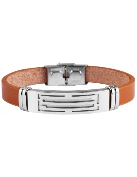 Men's genuine leather bracelet with stainless steel elements JUNO A20140690