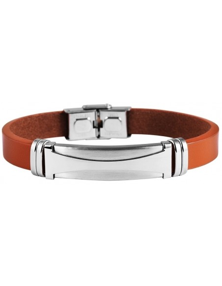 Men's genuine leather bracelet with stainless steel elements VENTAS A20140691