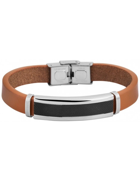 Men's genuine leather bracelet with stainless steel elements CAPS A20140700