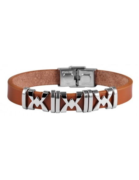 Men's genuine leather bracelet with stainless steel elements XORO A20140692