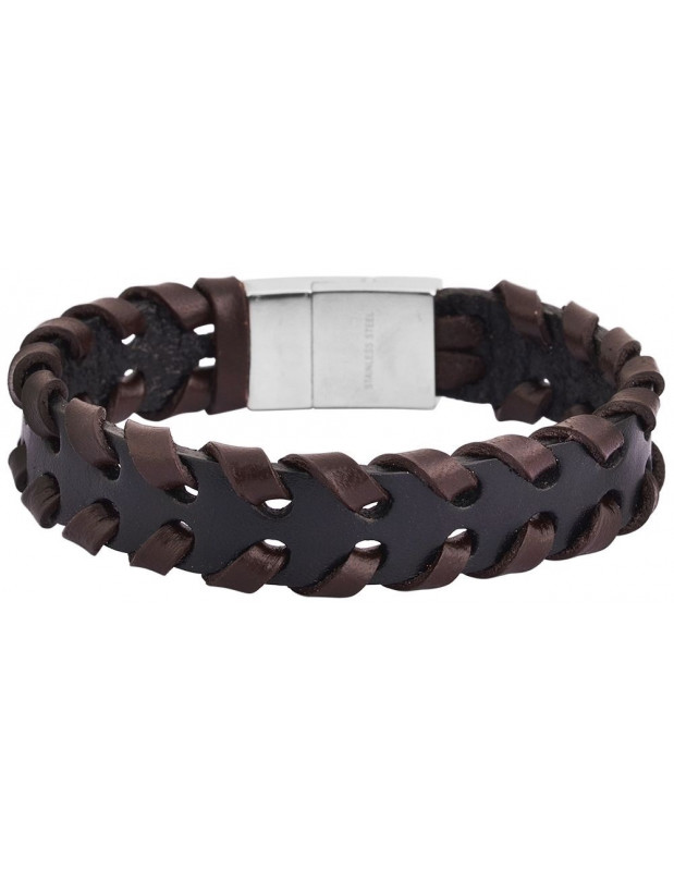 Men's genuine leather bracelet in black/brown color PLEK A20140695