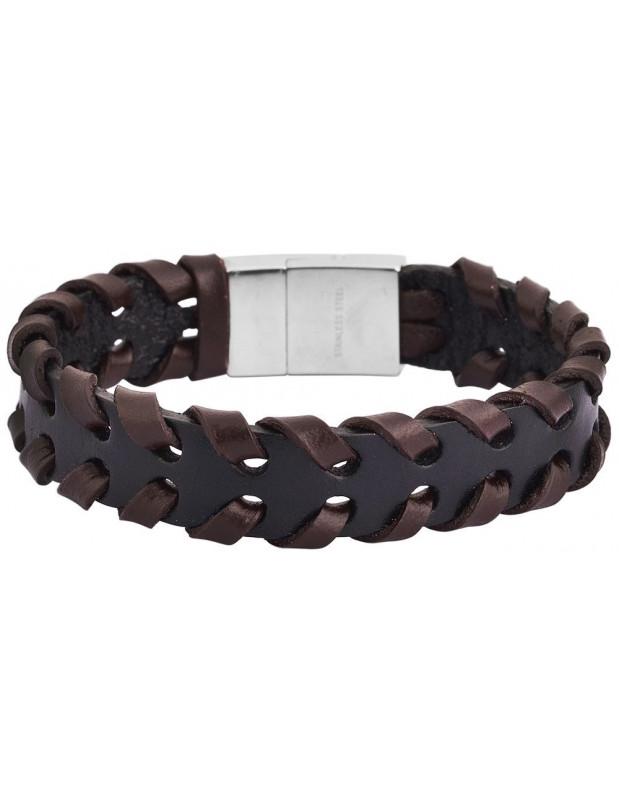 Men's genuine leather bracelet in black/brown color PLEK A20140695