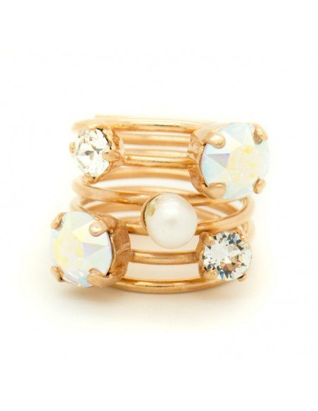 Handmade ring from rose gold plated bronze with zirconia stones SPIN R20140683