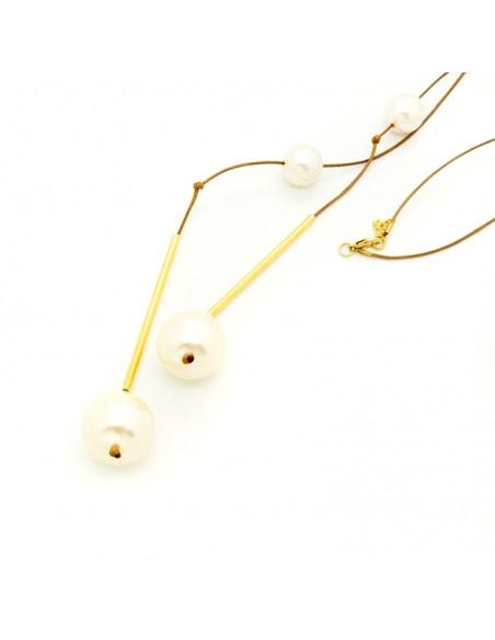 Lange Perlen Halskette mit Lederband TRIS