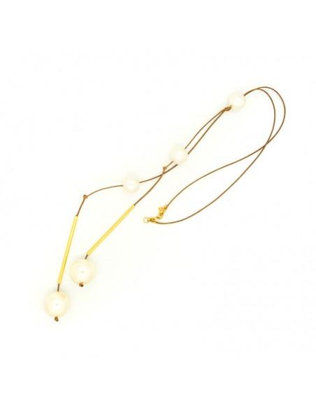 Lange Perlen Halskette mit Lederband TRIS 3