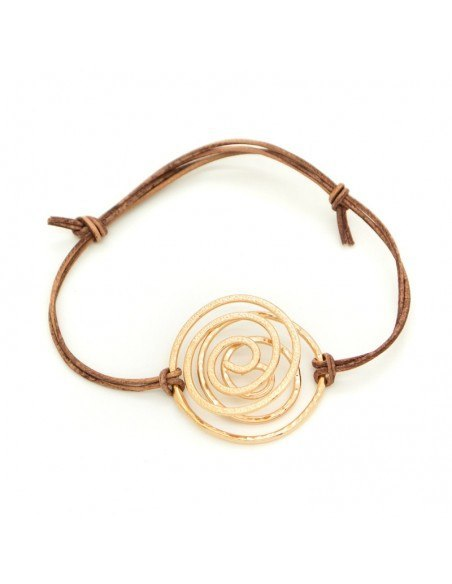 Leather bracelet with rose gold plated bronze element SPIRAL A20140718