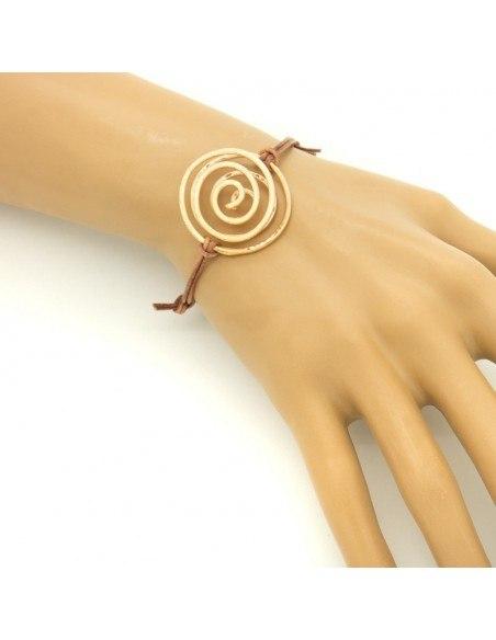 Lederarmband mit rosévergoldetem Bronze Element SPIRAL A20140718