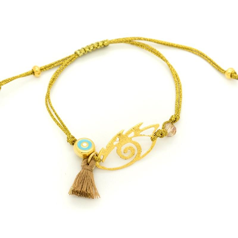 Cord bracelet with handmade bronze nazar pendant iops bijou box cord bracelet with handmade bronze nazar pendant iops a20140723 mozeypictures Images