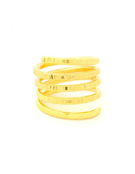 Ring in antikem griechischen Stil aus gehämmerter vergoldeter Bronze LINS R20140687