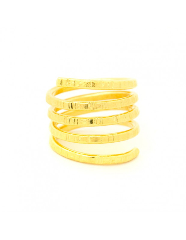 Ring in ancient greek style from hammered gold plated bronze LINS R20140687
