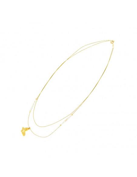 Ασημένιο Κολιέ με πεταλούδα χρυσό PETALOUDA II 2