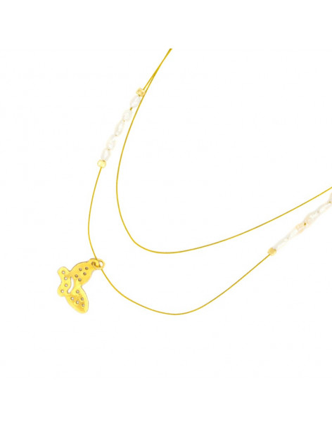 Ασημένιο Κολιέ με πεταλούδα χρυσό PETALOUDA II