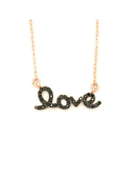 Silberkette schwarze Zirkonia Steine rosegold LOVE