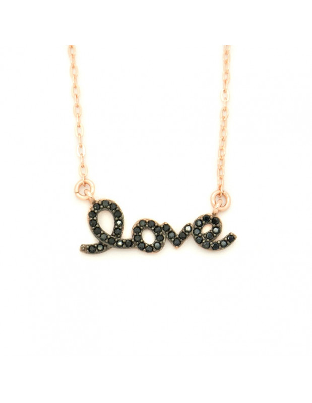 Silver Necklace with black crystals rose gold LOVE