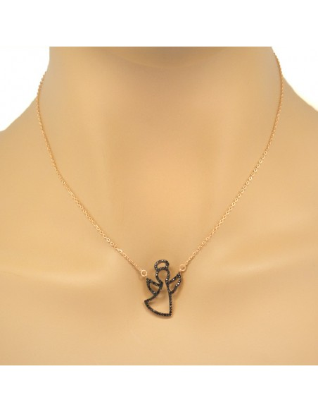 """Necklace """"ANGEL"""" made from rose gold plated silver 925 with black rhinestones H20140794"""