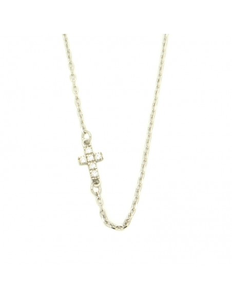 Cross Necklace from silver with white rhinestones H20140798