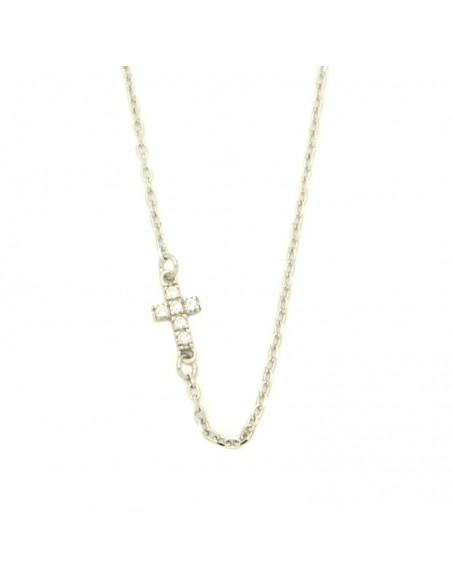 Κολιέ σταυρό από ασήμι με λευκά ζιργκόν H20140798