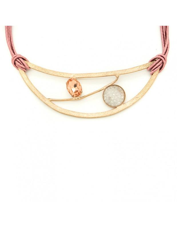 Kragen Halskette aus Bronze mit Zirkonen rosegold WAEL