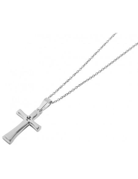 Unisex Κολιέ σταυρό από ατσάλι PERL H20140808