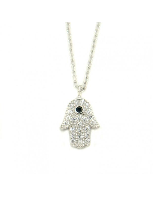 Halskette mit Fatima Hand 925 Silber IOS