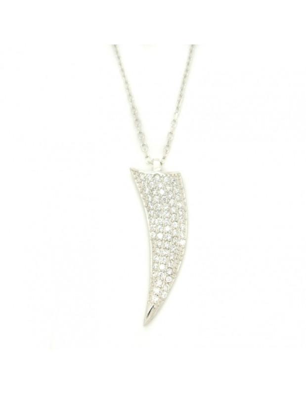 Halskette aus Silber mit großem Zahn Anhänger H20140814