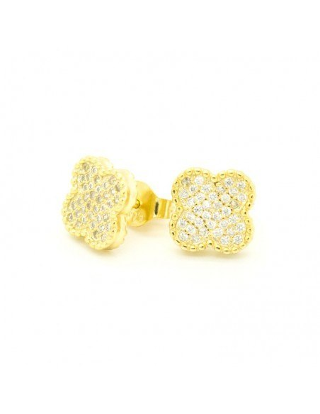 Silver Stud earrings with crystals gold TREFOIL