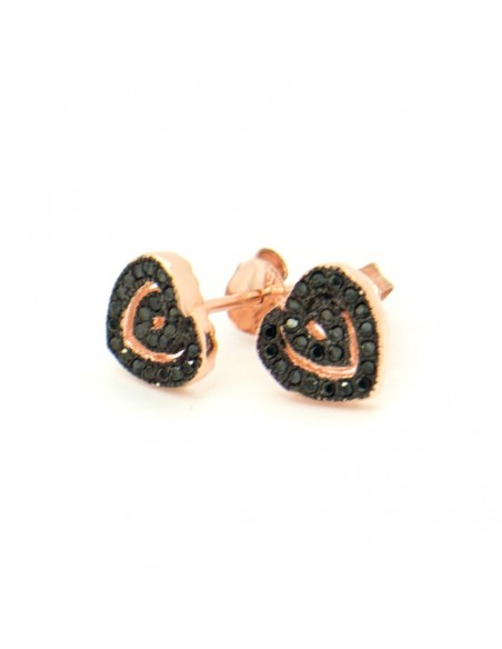 Silver Stud earrings with crystals rose gold HEART