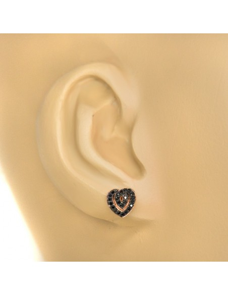 Silver Stud earrings with crystals rose gold HEART 2