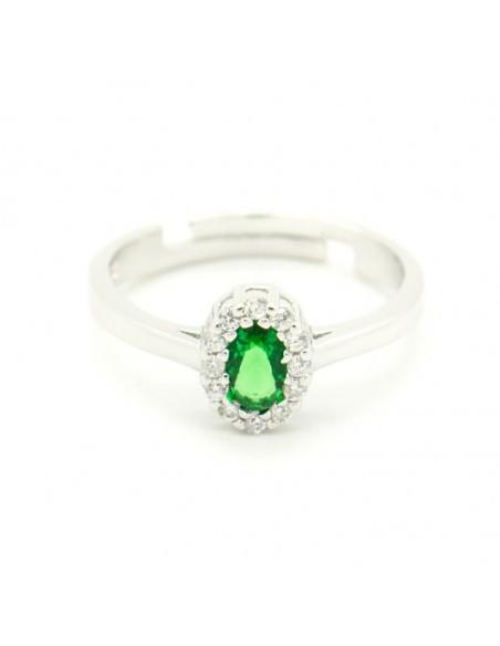 Δαχτυλίδι ασημένιο με μεγάλο πράσινο ζιργκόν OVAL
