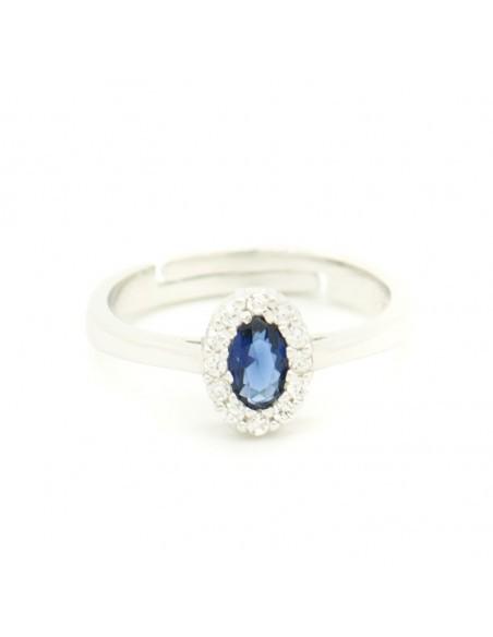 Δαχτυλίδι ασημένιο με μεγάλο μπλέ ζιργκόν OVAL R20140695