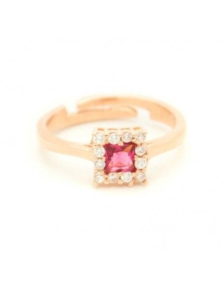 Δαχτυλίδι ασημένιο με ροζ ζιργκόν ροζ χρυσό QUAD
